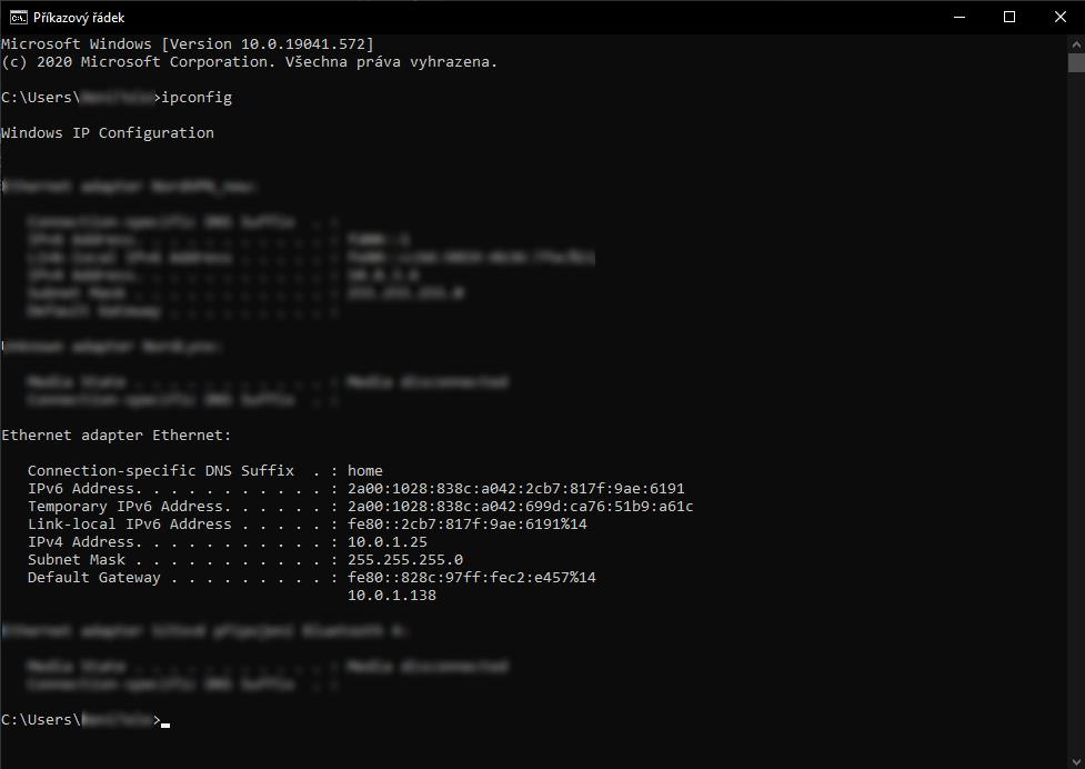 Výstup příkazu ipconfig